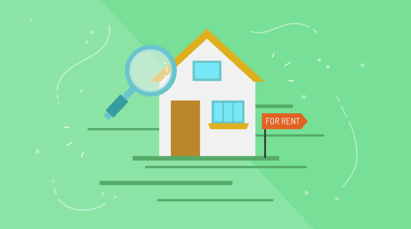 illustration of an apartment for rent with a magnifying glass over it