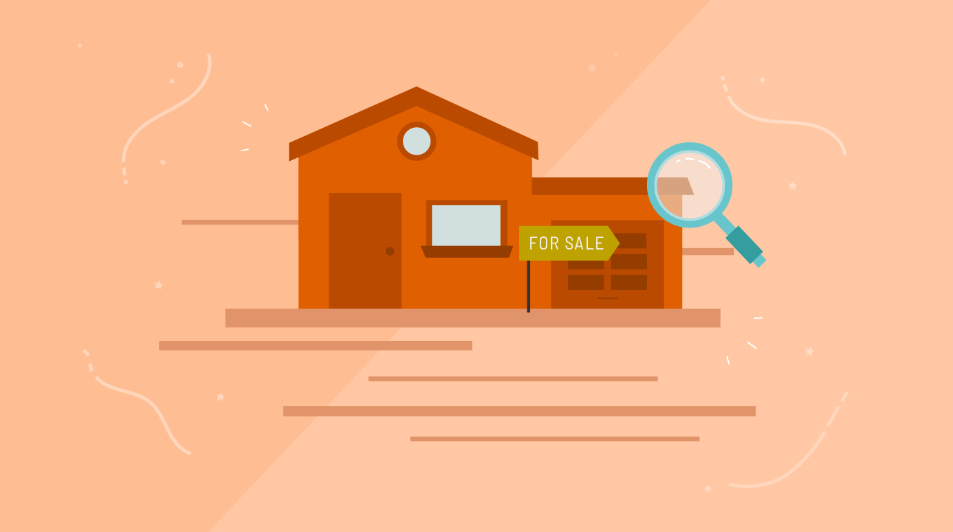 illustration of a home for sale with a magnifying class over it