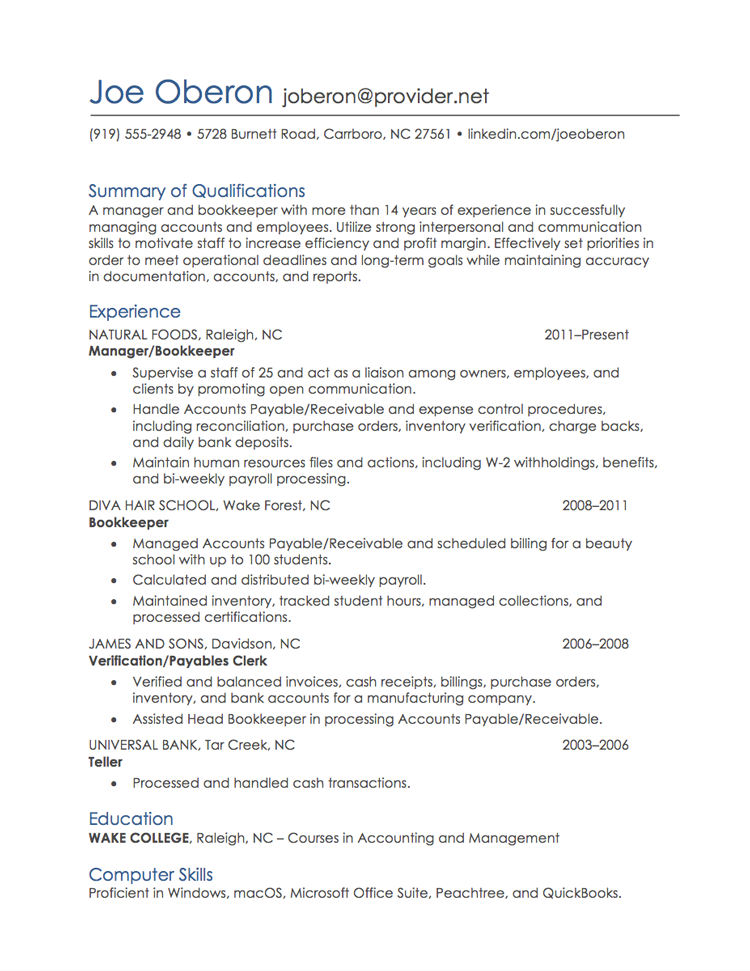 Most Recent Job  Resume Format