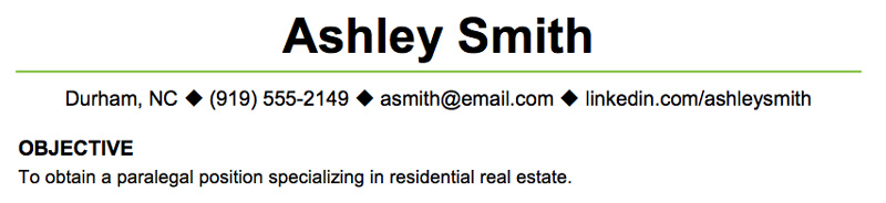 Objective: Ashley  Resume Sample Objectives