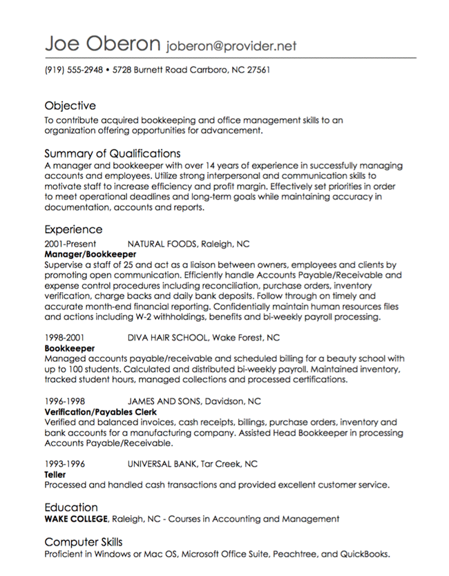 most recent position - Sample Employment Resume