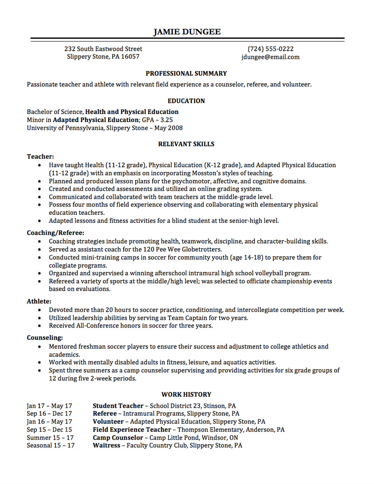 Resume Writing Employment History  Full Page