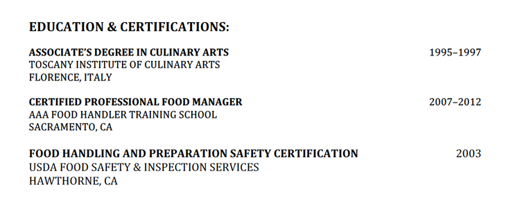 education_history_example_chef - Resume Education