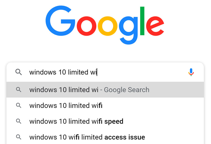 Google search of Windows 10
