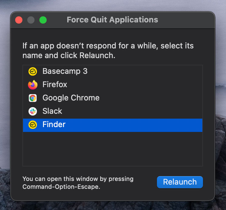 Relaunch Finder in Big Sur OS