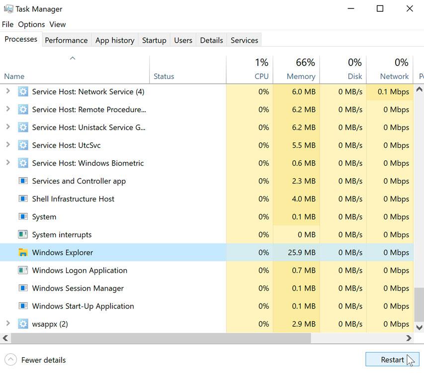 restarting Windows Explorer in Windows 10