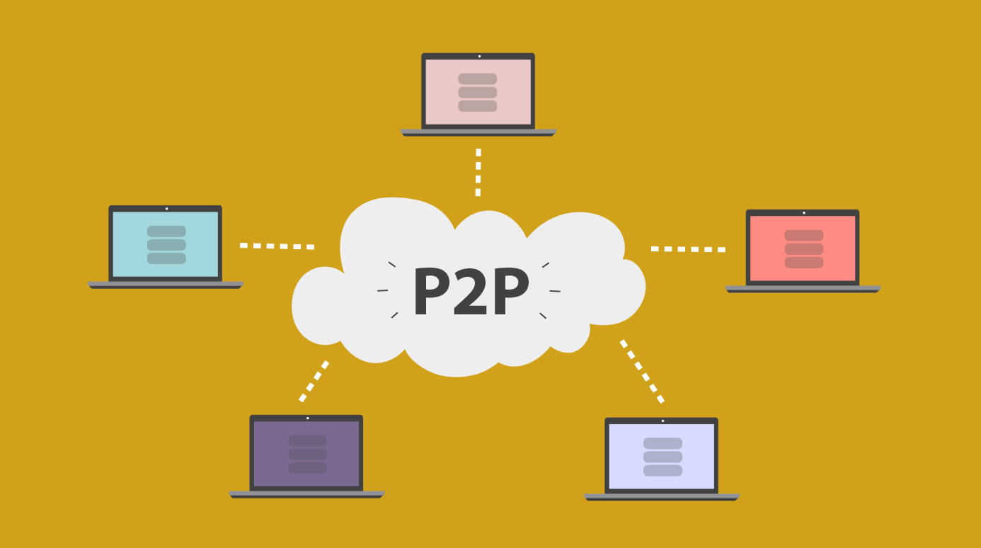illustration of a P2P network