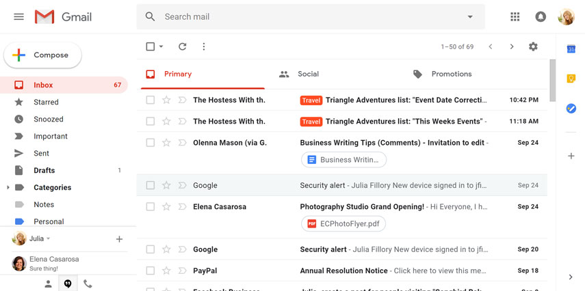 Gmail interface interactive