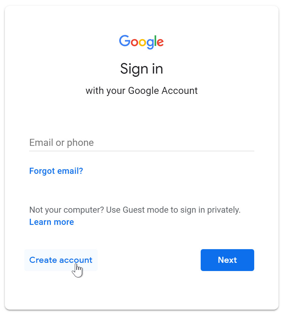 Gmail: Setting Up a Gmail Account Print Page