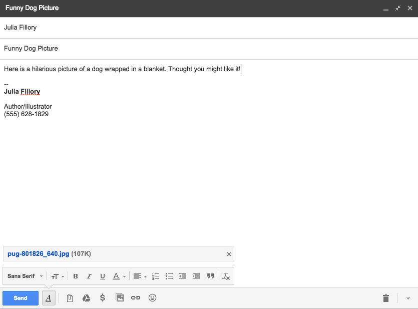 When you're finished, your email should look something like this: ...