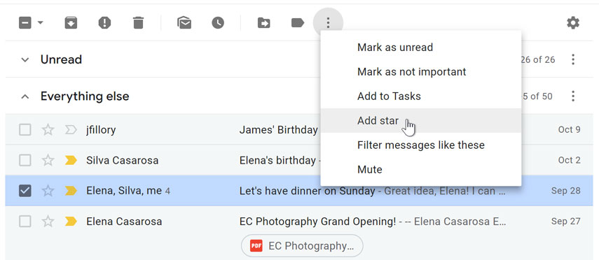 Select and star an email from the More Options drop-down menu