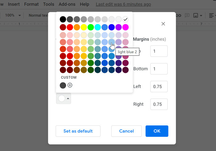 selecting page color