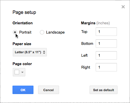Choosing the Page Orientation