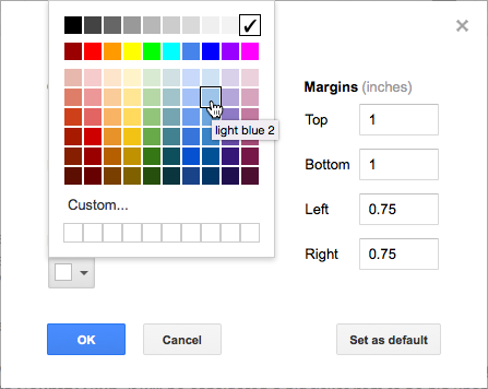 Page color selection