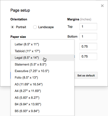 Paper Size selection