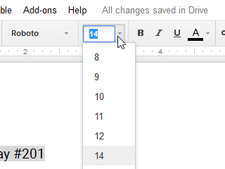 Clicking the Font size drop-down arrow