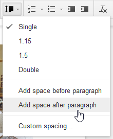 Adding space before a paragraph