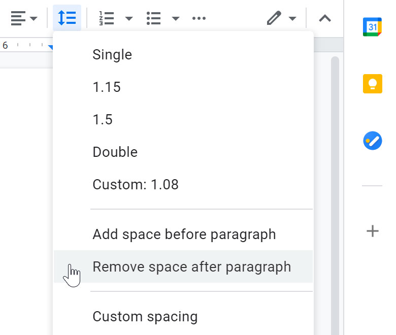 removing space after paragraph
