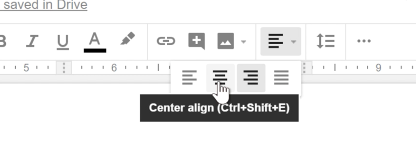 clicking the Center align shortcut