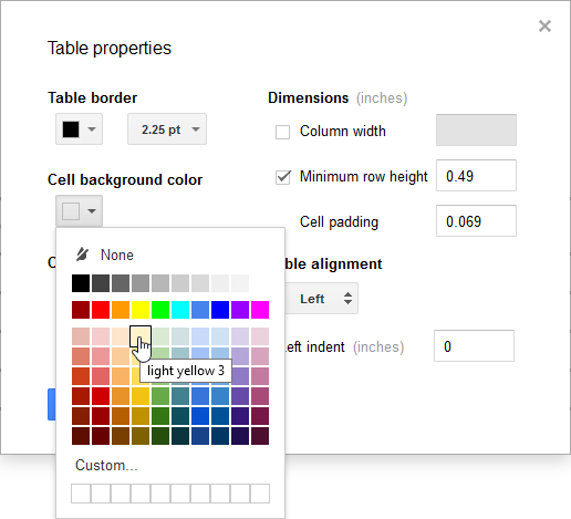 Changing the cell background color