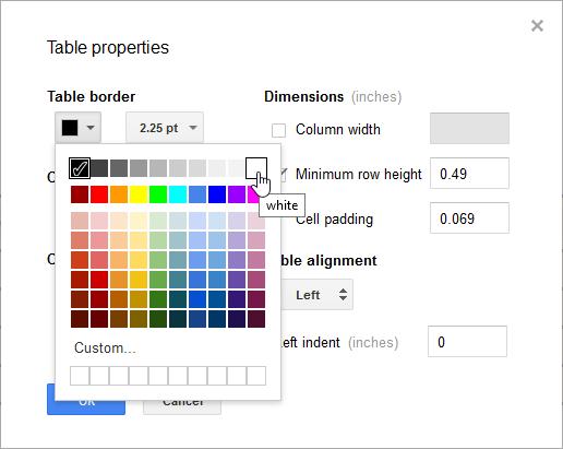 Modifying the border color