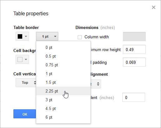 Modifying the border size