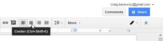 Clicking the Center align shortcut