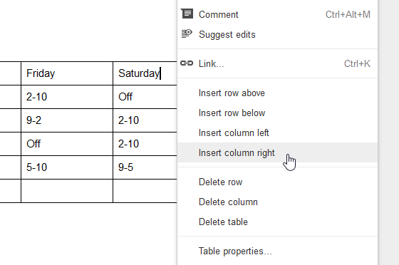 Inserting a column to the right