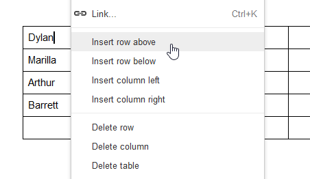 Inserting a new row