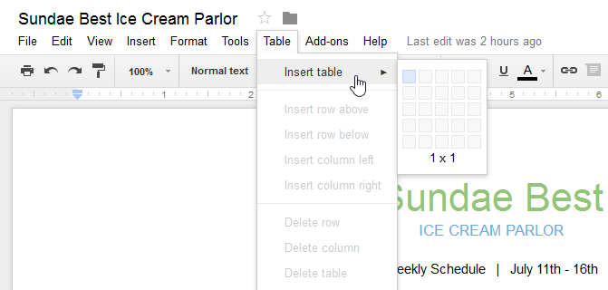 Google Docs: Working with Tables Print Page