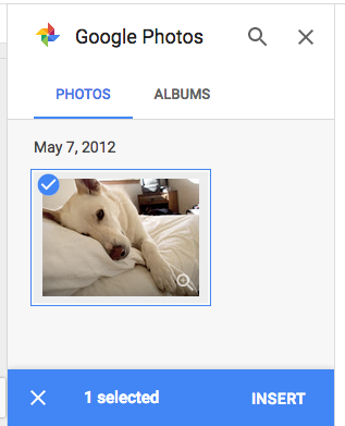 using Google Photos to insert an image
