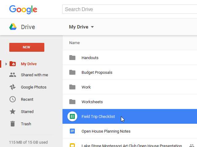 The newly created file in your Google Drive