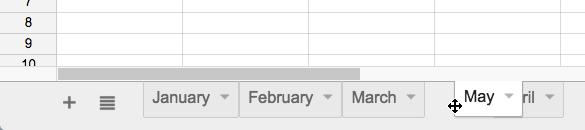 Moving a sheet tab