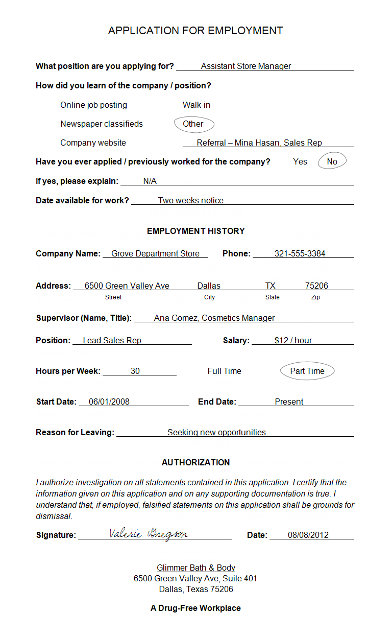 example application for employment