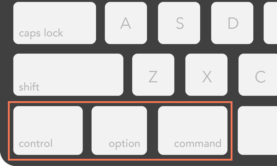 viewing the control, option, and command keys on a Mac keyboard