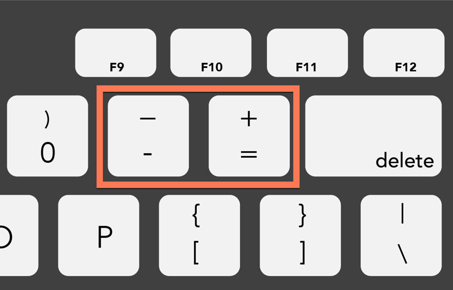 viewing the equal key and dash key on a PC keyboard