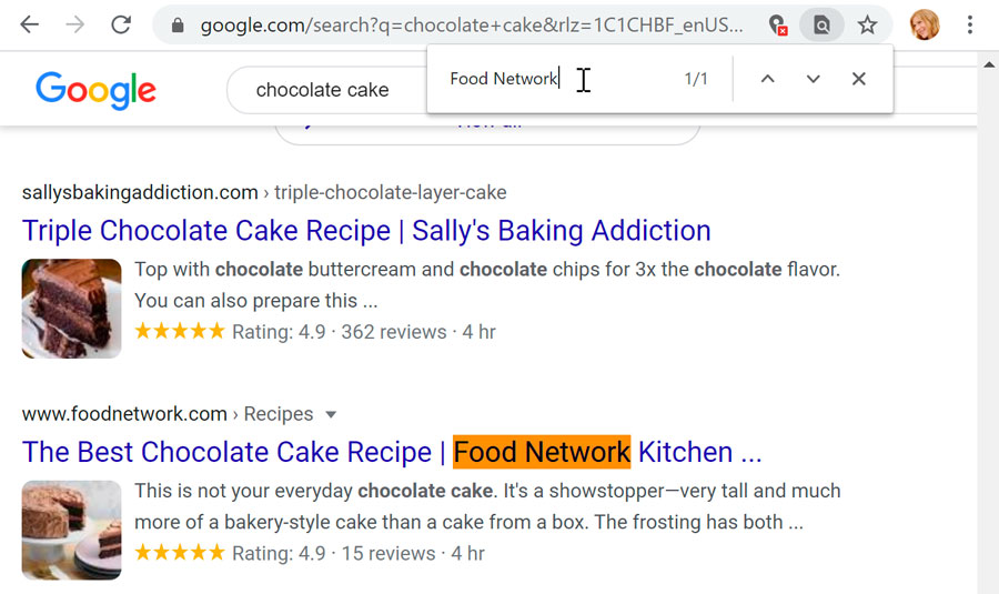 using a shortcut to use the Find toolbar in Google Chrome
