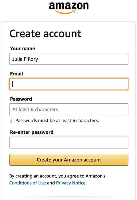 using the tab key to create an Amazon account in Safari