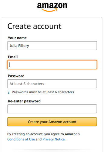 using the tab key to create an Amazon account