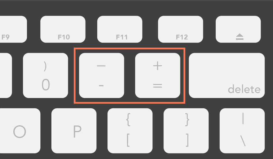 showing the minus and plus keys on a Mac keyboard