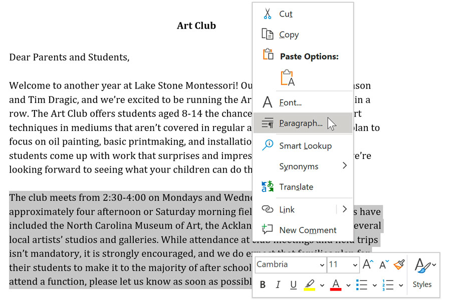 right-clicking in Microsoft Word to show formatting options
