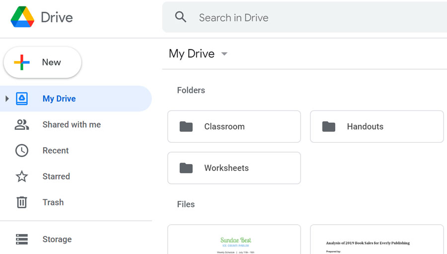 showing Google Drive