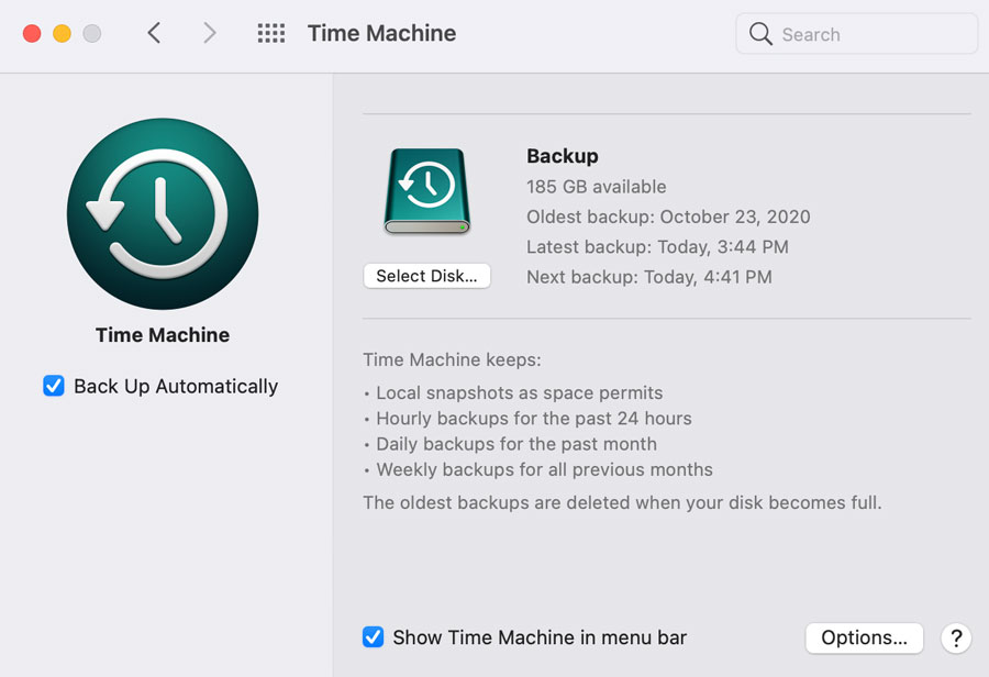 showing Time Machine for Mac OS 11