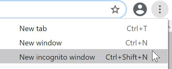 selecting New incognito window using Chrome