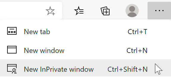 selecting New InPrivate window using Microsoft Edge