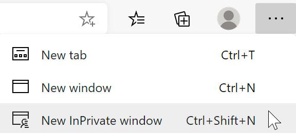 selecting New InPrivate window using Microsoft Edge