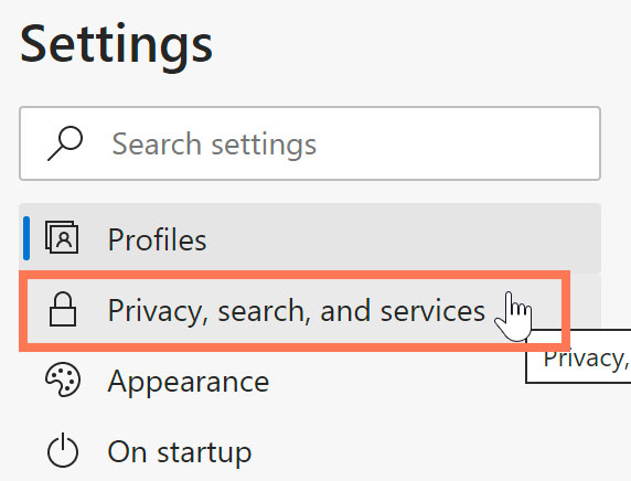 selecting Privacy, search, and services
