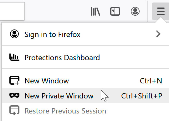 selecting New Private Window using Firefox
