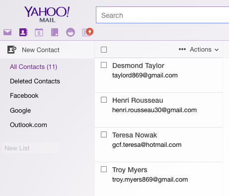 Yahoo! Contacts