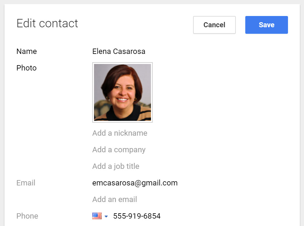 Adding contacts in Gmail